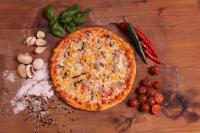 Gombás kukoricás pizz