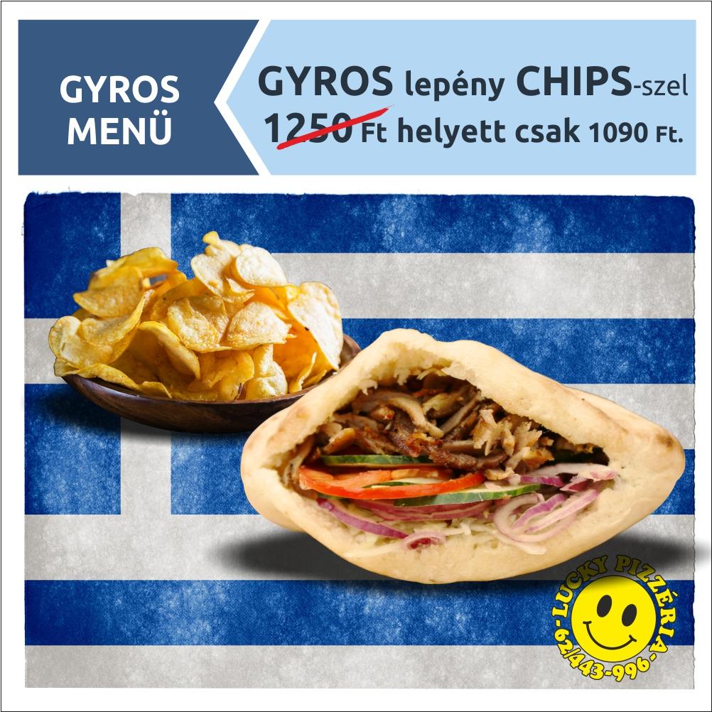 GYROS lepény CHIPS-szel 1250 Ft helyett csak 1090 Ft.