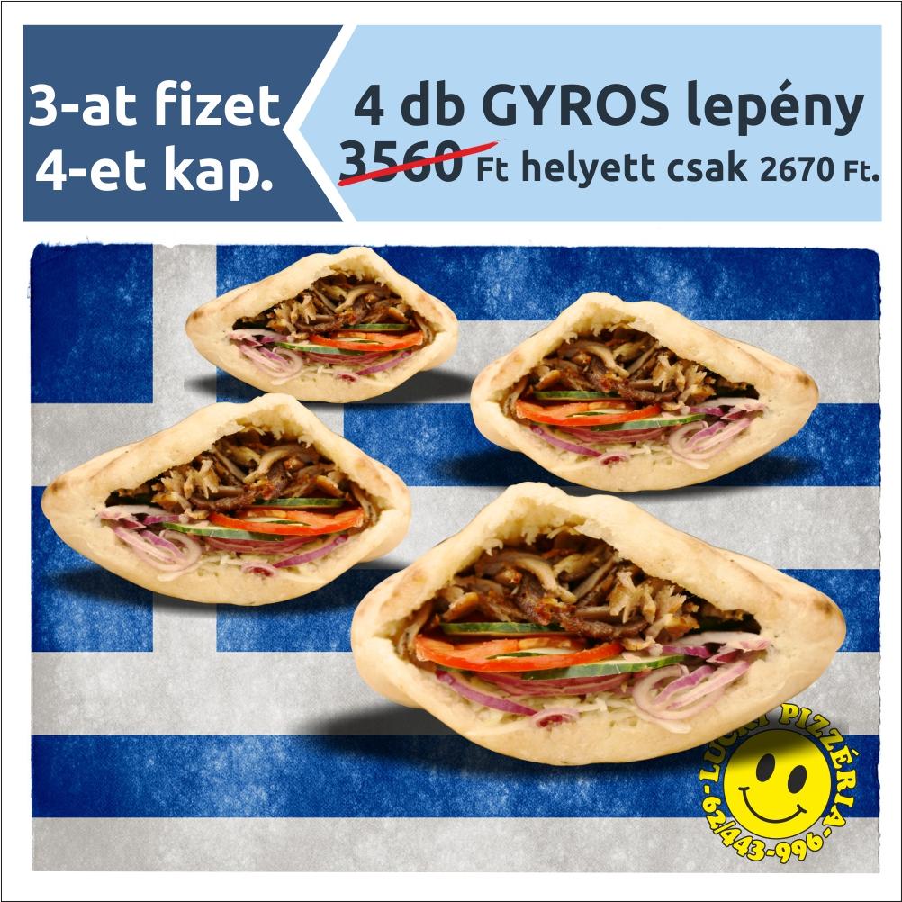 4 db GYROS lepény 3560 Ft helyett csak 2670 Ft.