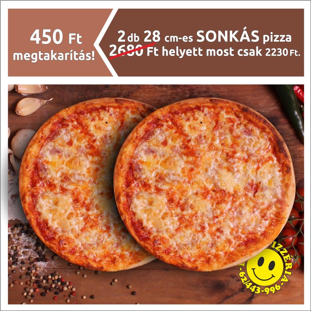 2 db 28 cm-es SONKÁS pizza 2680 Ft helyett most csak 2230 Ft.