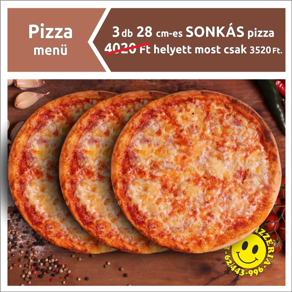 28 cm-es FÉLIX pizza és 28 cm-es SONKÁS pizza 2190 Ft.