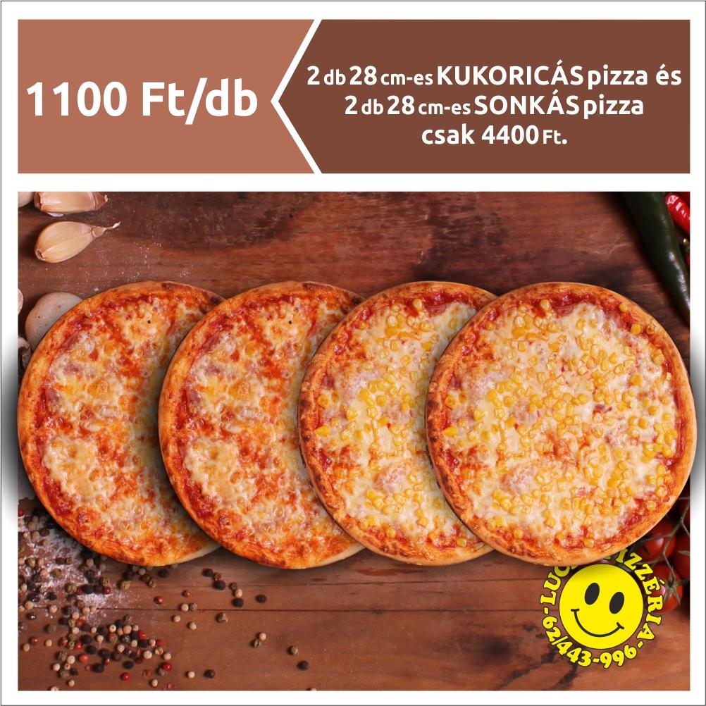 2 db 28 cm-es KUKORICÁS pizza és 2 db 28 cm-es SONKÁS pizza 4400 Ft