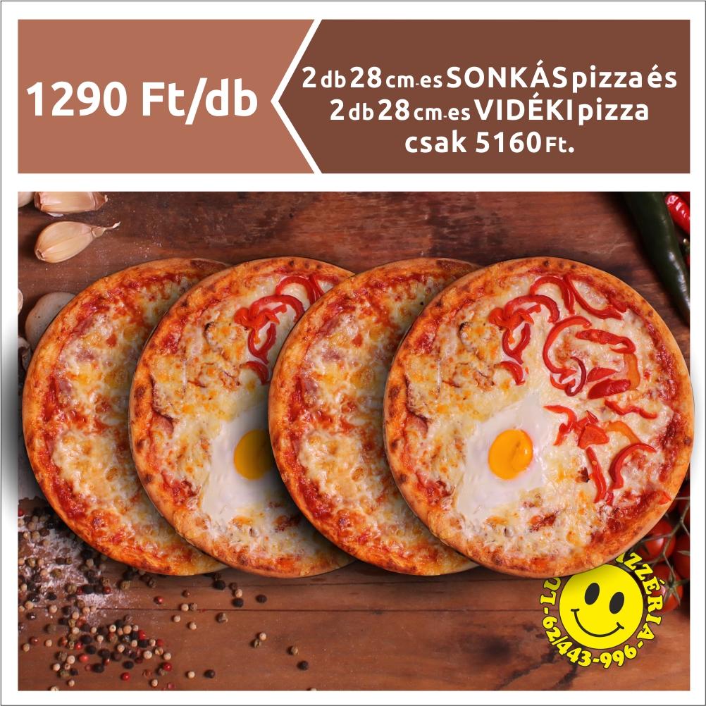 2 db 28 cm-es SONKÁS pizza és 2 db 28cm-es VIDÉKI pizza 5160 Ft.