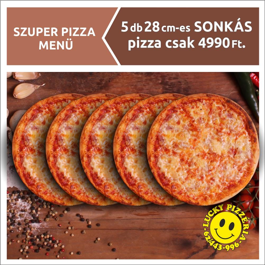 5 db 28 cm-es SONKÁS pizza csak 4990 Ft.